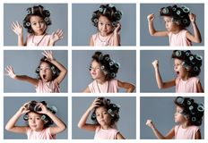 Collage of portraits of little girl in hair curlers with different emotions. Collage of portraits of funny cute little child girl in hair curlers with different stock photo
