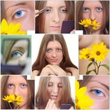 Collage from portraits of the nice girl Stock Images
