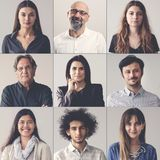 Collage of portraits smiling men and women royalty free stock image