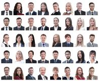 Collage of portraits of successful employees isolated on white. Background royalty free stock photo