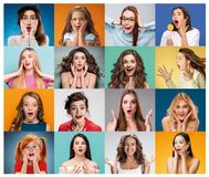 The collage from portraits of women with shocked facial expression. The collage from portraits of young women with shocked facial expression Stock Photography