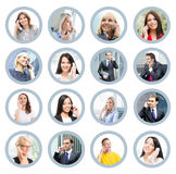 Collage of portraits of young business people Stock Photos