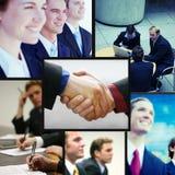 Collage positivo di affari fotografia stock