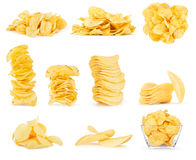 Collage of potato chips isolated Stock Photo