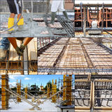 Collage of pouring concrete Royalty Free Stock Photos