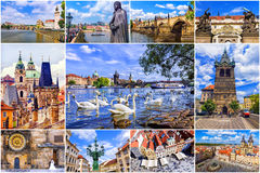 Collage of Prague attractions, Czech Republic Royalty Free Stock Photos