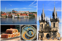 Collage of Prague, the capital city of Czech Republic in Europe Royalty Free Stock Photo