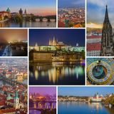Collage of Prague in Czech republic images my photos. Travel and architecture background Royalty Free Stock Photos