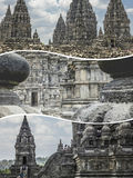 Collage of Prambanan  ( Indonesia ) images - travel background ( Royalty Free Stock Photos