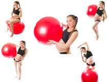 Collage of pregnant fitness woman make exercise. On fit ball on white background. The concept of Sport and Health stock photos