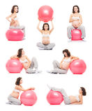 Collage of pregnant women fith fitness balls Stock Image