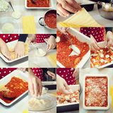 Collage of Preparation lasagna. Royalty Free Stock Photos