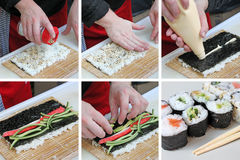 Collage of preparation sushi Royalty Free Stock Photos