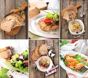 Collage of prepared dishes stock image