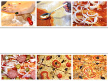 Collage - preparing pizza in 6 steps Stock Images