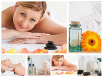 Collage of a pretty blond woman relaxing Royalty Free Stock Photos