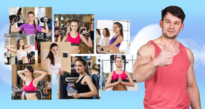 Collage of pretty girls and young guy Stock Images
