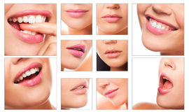 Collage of pretty lips Stock Photos