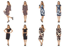 Collage of pretty women shoppers in modern dresses Stock Image