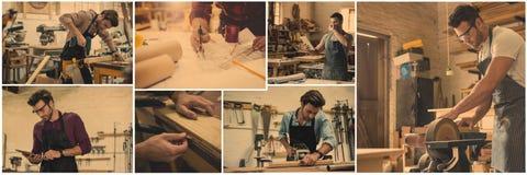 collage profesional de la artesanía en madera foto de archivo