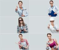Collage of professional workers portraits royalty free stock image