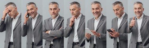 Collage professionnel de photo d'homme d'affaires photo libre de droits