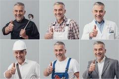 Collage professionnel de travailleurs photographie stock