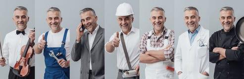 Collage professionnel de travailleurs images libres de droits