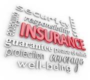 Collage Proteciton-Sicherheit des Versicherungs-Wort-3D vom Schaden Stockbild