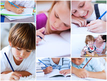 Collage of pupils studying Stock Photos