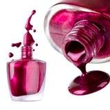 Collage of purple nail polish splash Stock Image
