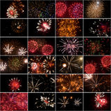 Collage quadrato dei fuochi d'artificio Fotografia Stock