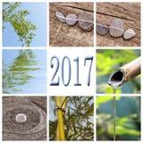 2017, collage quadrato di bambù di zen Fotografie Stock