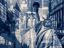 Collage que contiene varias señales de Nueva York fotografía de archivo libre de regalías