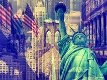 Collage que contiene varias señales de Nueva York Imagenes de archivo