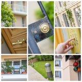 Collage que ilustra el mercado inmobiliario Foto de archivo