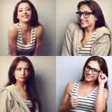 Collage (raccolta) di bella giovane donna con fac differente Fotografia Stock