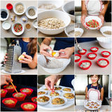 Collage of recipe cooking vegetarian diet cupcakes Royalty Free Stock Images