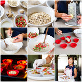 Collage of recipe cooking vegetarian diet cupcakes Stock Images