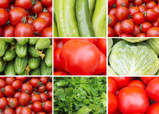 Collage of red and green vegetables. Red and green vegetables closeup royalty free stock photography