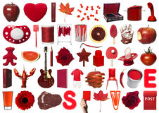 Collage of Red Objects. On White Background Stock Image