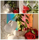Collage with red rose and heart Royalty Free Stock Image
