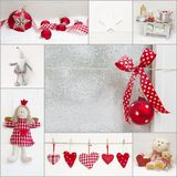 Collage of red and white christmas decoration Stock Photos