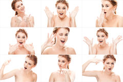 Collage of redhead young beautiful woman emotions Royalty Free Stock Image