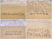 Collage of relaxation messages written on sand Royalty Free Stock Images