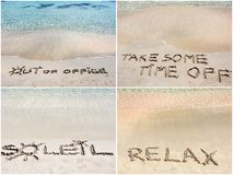 Collage of relaxation messages written on sand Stock Image