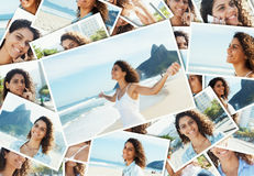 Collage of a relaxing latin woman at Rio de Janeiro Royalty Free Stock Image