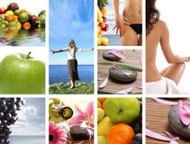 A collage of resort images with young women Stock Image