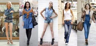 collage Retrato no crescimento completo as meninas bonitas novas no bl Fotos de Stock Royalty Free