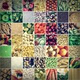 Collage retro de la comida de la mirada imagen de archivo libre de regalías